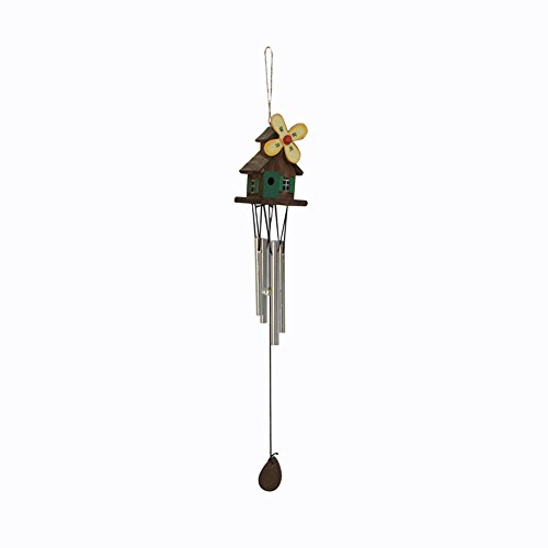 WDOIT Holzhaus Windspiel Windspiele Deko mit Klang Winterdekoration für In- und Outdoor, Haus und Garten zum Aufhängen Decor