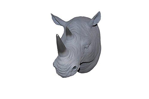 Near and Deer Faux Taxidermy Rhinoceros Head Wall Mount, Gray Ombre