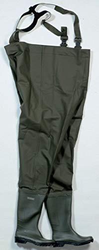 Ocean Wathose Budget aus PVC aus Polyestergewebe, 500 gr/m² mit fest angebrachten Gummistiefeln. Größe 37 bis 48 (43)