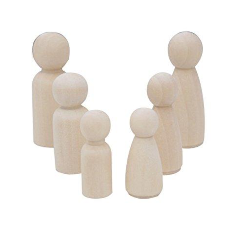 IPOTCH 30 pcs DIY Holzfiguren Figurenkegel Spielfiguren Krippenfiguren Mann Frau Junge Mädchen