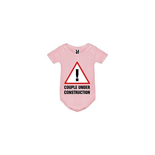 TSHIRT MK Body bébé - Couple Under Construction - Bébé Fille - Rose - 12MOIS