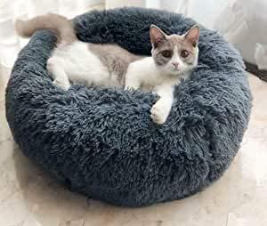 Everley Hutt Deluxe Haustierbett für Katzen Hundebett Luxery Soft Dog Donut Bed Cuddler mit weichem Kissen Round Nesting Cave (Medium(70cm), Dunkelgrau)