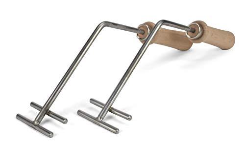 Abnehmbare Griffe Universal für alle Grillroste passend je nach Stabrichtung, Variante:Stäbe entlang Tiefe