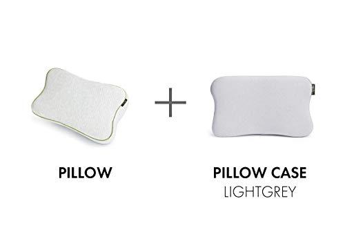 BLACKROLL Recovery Pillow im Set mit zusätzlichem Bezug in hellgrau – orthopädisches HWS Kissen (Nackenstützkissen) aus Viscose Memory Schaum - Made in Germany