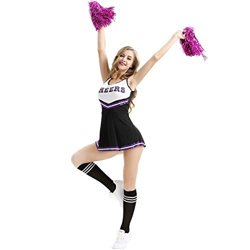 Raymonj Cheerleader Kostüm Uniform mit Pom Poms High School Musical Sport Kostüm Frauen Mädchen Halloween Party Cosplay Outfit