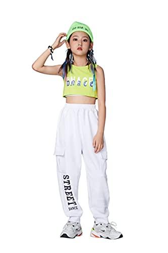 2-delar barn sommar träningsdräkter, tjejer hiphop-kläder, gatudanskläder, träningsbyxor + beskuren linne