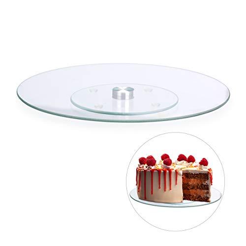 Relaxdays Plato Giratorio Tartas para Servir y Decorar, Vidrio, Transparente, ∅ 30 cm