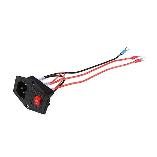 Kfdzsw Interruptor basculante 10A 250VAC 3 Pin IEC320 C14 Conector de Entrada Conector Conector de Enchufe con la lámpara roja Interruptor de balancín 10A portafusibles Conector de Macho del zócalo