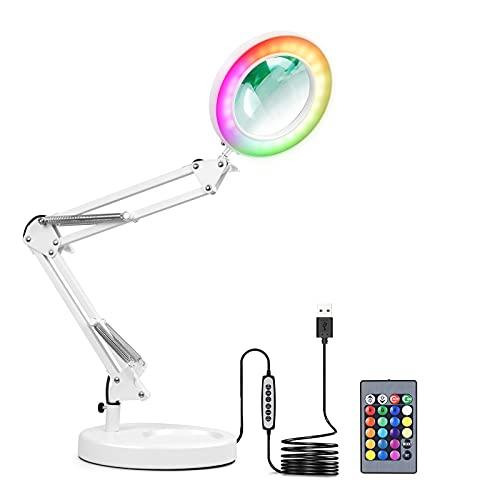 YNDD Lámpara de escritorio con lupa RGB con base redonda, USB 3, temperatura de color, 10 brillo, 12 W, lupa LED, para reparación, manualidades, lectura, costura, obras de arte, transmisión en vivo, fiesta, color blanco