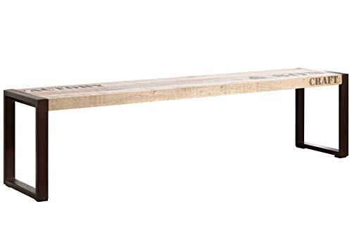 MASSIVMOEBEL24.DE Massivholz Möbel Bedruckt Industrial-Stil Mangoholz Bank 160x45 vollmassiv Eisen Factory #121