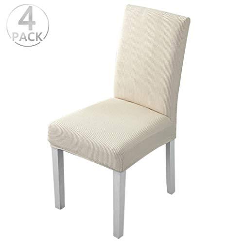 Dioxide Fundas para Sillas Pack de 4 Fundas Sillas Comedor, Fundas Elasticas Chair Covers Lavables Desmontables Cubiertas para Sillas Muy Facil de Limpiar Duradera(Beige/Espesar,Paquete de 4)