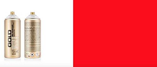 MONTANA GOLD 400ML - Fluoreszierendes Neon Spray (gelb, pink, grün, orange, rot, weiß und blau) (Rot)