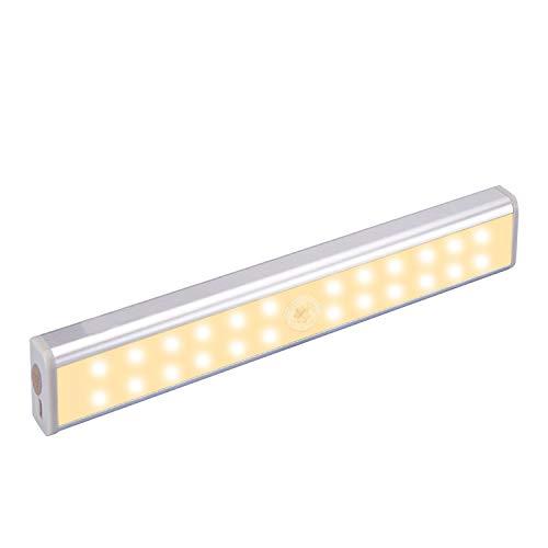 BelonLink Luci per armadio sensore di movimento,Illuminazione wireless sotto l'armadio, ricaricabile 24 LED Night Light Bar,Luci di sicurezza per armadio Armadio Scale,2 pezzi (1 Pack)