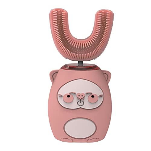 F Fityle Cepillo de dientes eléctrico en forma de U para niños, Cepillo de dientes ultrasónico Cepillo de dientes de modelado de dibujos animados tipo U, Modo - Rosa 8 a 15 años