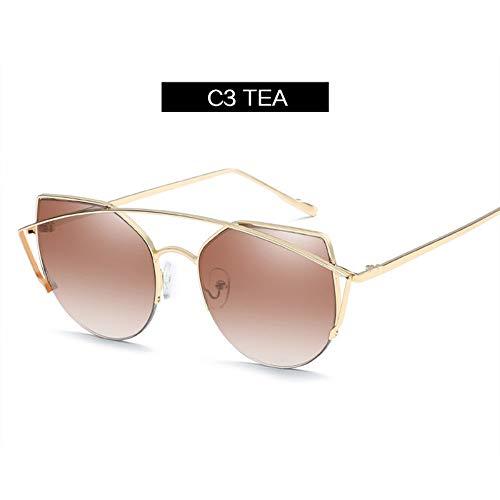 WDDYYBF Zonnebrillen, vintage cat eye zonnebril dames metalen dubbele beam originele zonnebril voor vrouwen platte glazen koffie