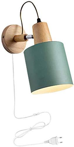 FSLIVING Nordic Minimalist Lámpara de pared de estilo moderno, lámpara de pared de metal verde con cable de enchufe CE para Loft Lounge, salón, habitación de los niños, dormitorio
