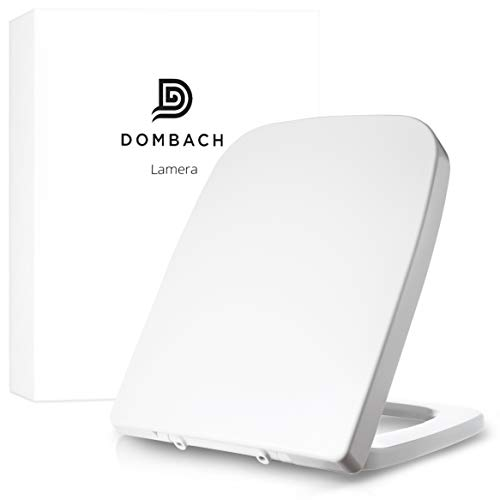 Dombach® Lamera Premium Toilettendeckel weiss eckig passend für Keramag Renova Nr. 1 Plan antibakteriell mit Absenkautomatik Softclose WC Sitz abnehmbar Edelstahlscharnier Klodeckel Toilettensitz
