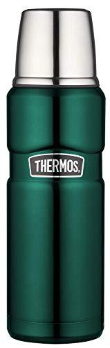 THERMOS Stainless King Thermosflasche Edelstahl grün 470ml, Isolierflasche mit Trinkbecher 4003.287.047 spülmaschinenfest, Thermoskanne hält 12 Stunden heiß, 24 Stunden kalt, BPA-Free