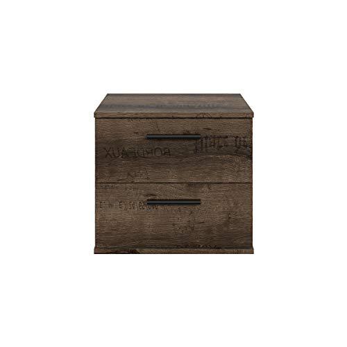 FORTE Nachttisch, Nachtkonsole mit 2 Schubkästen, passend zu Futonbetten, Schlammeiche Script Dekor