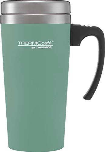 THERMO ThermoCafé Gobelet Isotherme en Plastique et Acier Inoxydable avec poignée Souple 420 ML, Plastique Acier Inoxydable, Bleu Canard/crème, 420ml