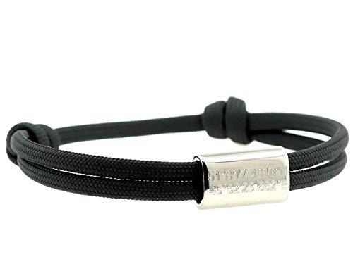 KOMIMAR Surfer Armband für Verliebte mit GPS Koordinaten GRAVUR in vielen Farben - Freundschaftsarmband - Geschenkidee Valentinstag - Partnerarmband - personalisiert - Gravur Armband - Jahrestag