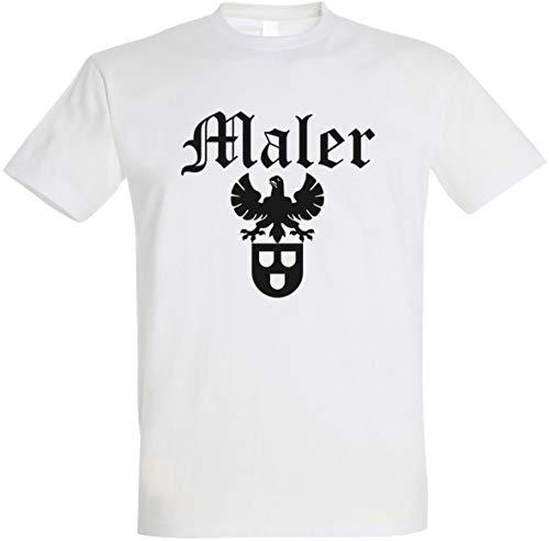 """Herren T-Shirt Maler Zunftwappen 2\"""" S bis 5XL (Weiß, L)"""