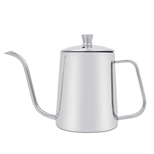 Cafetera de acero inoxidable, hervidor de café de cuello de cisne largo de acero inoxidable de 550 ml con tapa para el hogar, cocina, cafetería