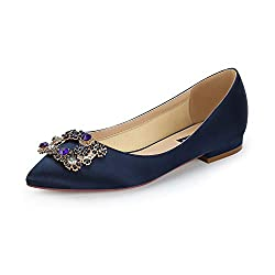 Comfort Flat Rhinestone Pointy Toe Slip On Navy Shoes