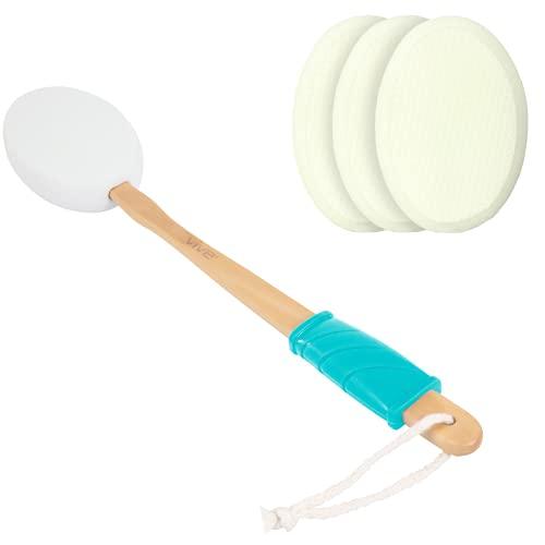 Vive Lotion Applicator for Your Back (4 Pads) - Long Reach Handle with Sponge for Easy Self Application of Shower Bath Body Wash Brush, Skin Cream, Suntan, Tanning, Aloe - Men, Women