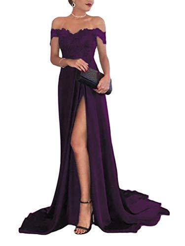 Onsoyours Lila Spitze Off Shoulder Plissee Kurzarm Schlitz Elegante Maxikleid Partykleid Abendkleid L