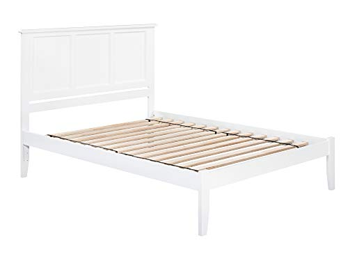 Atlantic Furniture Madison Platform Bed with Open Foot Board, Queen, White
