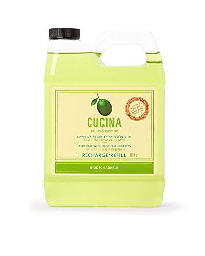 Fruits & Passion [Cucina] - Lime Zest and Cypress Tree Liquid Hand Soap Refill, Kitchen Hand Soap Refill, Vegan & Cruelty-Free, All Natural Moisturizing Hand Wash Refill (33.8 fl oz)
