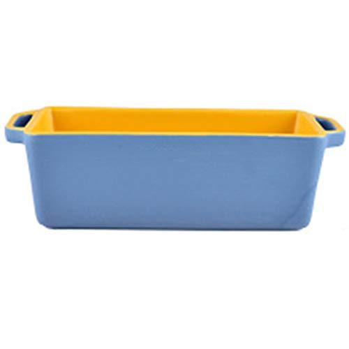 Utensilios para hornear de cerámica rectangulares binaurales, horno especial para horno, tazón de queso, utensilios para hornear arroz, horno microondas (Color : D, Size : 10.11 * 8.30 * 2.44(inch))