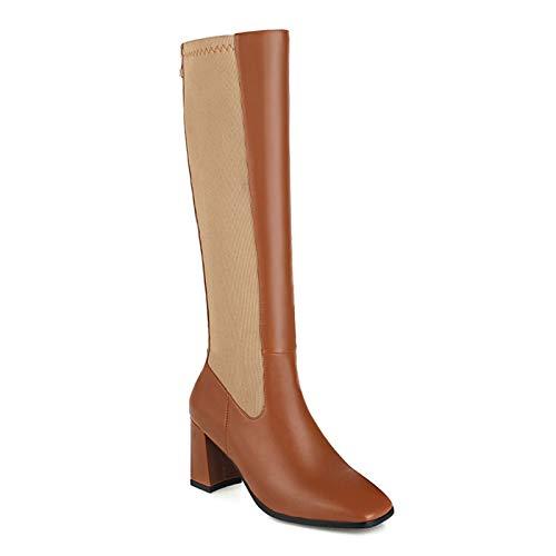 HKIASQ Moda Botas Altas hasta La Rodilla Zapatos De Mujer Otoño Invierno Botas Altas De Mujer Cómodas Zapatos Largos De Mujer Estirados Grandes,Marrón,40EU