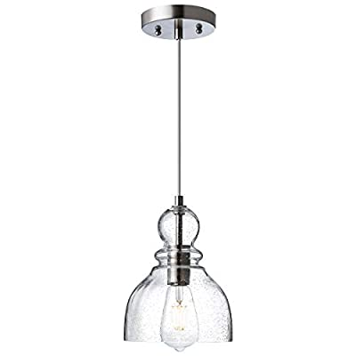LANROS Industrial Pendant Lighting with Handblown Clear Seeded Glass Shade, Adjustable Cord Farmhouse Lamp Ceiling Pendant Light Fixture for Kitchen Island Kitchen Sink, Brished Nickle, 1 Pack