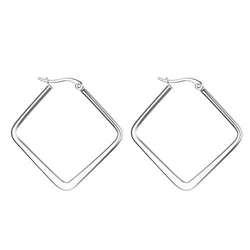 JewelryWe Schmuck Damen Ohrringe Edelstahl Poliert große Quadrat Viereck Geometrie Hoop Creolen Ohrstecker Silber 30mm