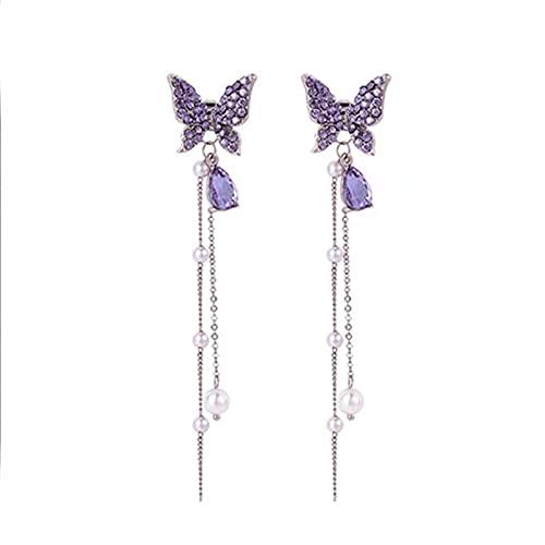 Fmaoltkk Pendientes largos de la borla de la perla de la mariposa de las mujeres de la moda de plata, Plástico,
