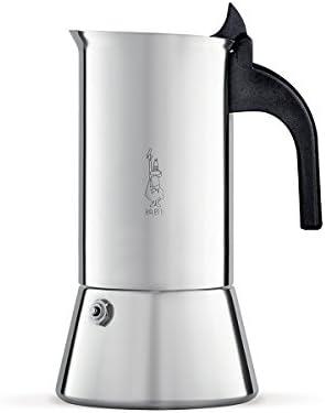 Bialetti Venus, cafetera de espresso, con calentador en parte superior, de acero inoxidable con manija negra aislante, varios tamaños, Acero