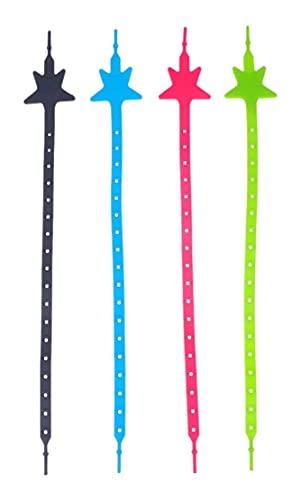 LIXBD Lot de 4 clips de tétine extensibles en silicone pour poussette ou chaise haute Couleur : comme sur la photo