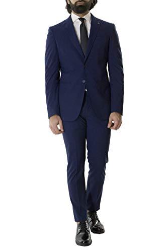Carillo Herren-Kleid, elegant, für den Sommer, einreihig, Tasmania-Effekt, leicht elastisch, Slim Fit, Blau, Blau 48