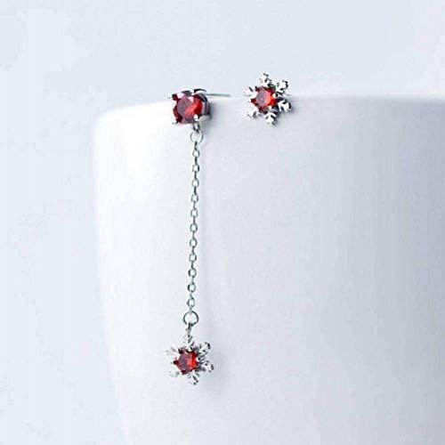 Thumby Oorbel Dangler Oorbel Oorbel S925 zilveren Oorbellen Vrouwelijke Kleine Verse Diamanten Sneeuwvlok Links en Rechts Asymmetrische Oorbellen oor Sieraden Vrouw voor Vrouwen