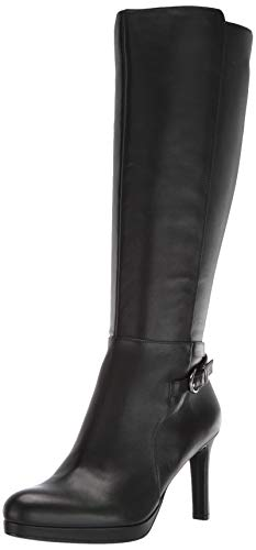 Naturalizer Women's Tai High Shaft Boots Knee, Black Leather, 10.5