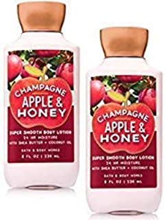 Bath and Body Works 2 Pack Champagne Apple and Honey Super Smooth Body Lotion. 8 Oz.