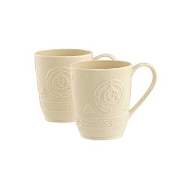 Belleek Group 4138 Celtic Mug, 10-Ounce, Ivory, 2-Count