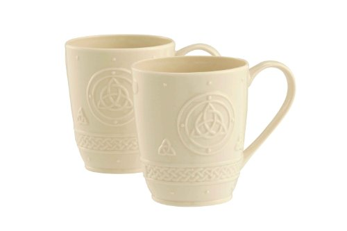 Belleek Group Celtic Mug, 10-Ounce, Ivory, 2-Count