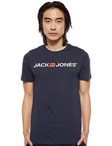 Jack & Jones Jjecorp Logo tee SS Crew Neck Noos Camiseta, Azul (Navy Blazer Detail: Slim Fit), Medium para Hombre
