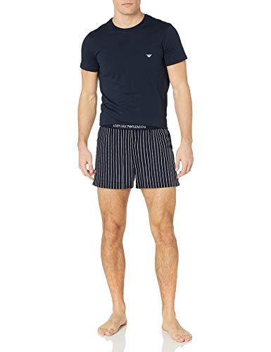 Emporio Armani Underwear Herren Loungewear-Yarn Dyed Woven Pyjamas Zweiteiliger Schlafanzug, Blau (RIGA Marine/Bianco 16135), Medium (Herstellergröße:M)