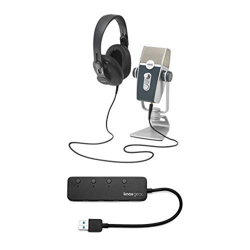 AKG Lyra USB Microphone and AKG K371 Headphones with Knox 3.0 4 Port USB Hub Bundle (2 Items)