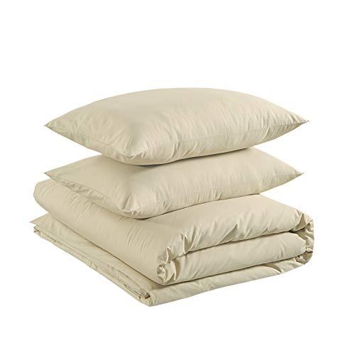 Amazon Basics - Juego de funda nórdica ligera de algodón - 200 x 200 cm / 50 x 80 cm, Blanco...