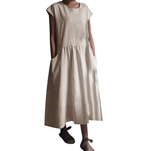 LOPILY Tunika Tshirt Kleid BluseKleider Damen Sommer Einfarbig Einfach Bequem Freizeit Maxikleid Sommerkleider mit Taschen Strandkleid Maxikleid(Beige,DE-42/CN-L)